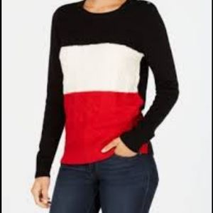 Charter Club cable knit long sleeve sweater